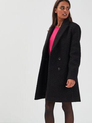 Manteau evase boutonne noir femme