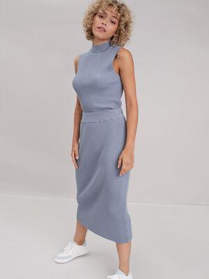 Jupe tricot midi ajustee bleu clair femme