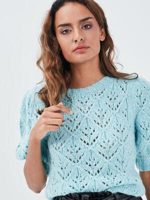 Pull manches courtes ajoure bleu turquoise femme