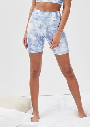 Short cycliste taille haute ecru femme