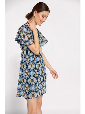 Robe courte evasee plastron bleu clair femme