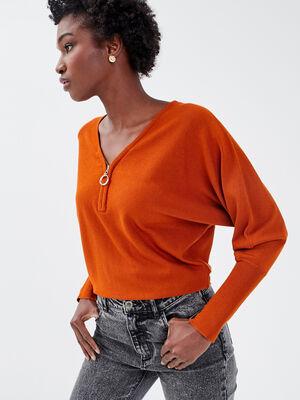 Pull avec col zippe marron cognac femme