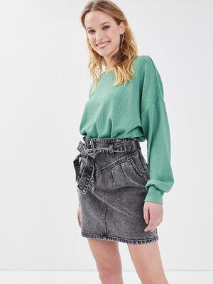 Jupe paperbag en jean denim gris femme