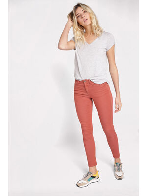 Pantalon skinny push up terracotta femme