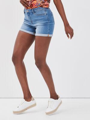 Short droit en jean denim double stone femme
