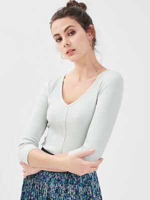 T shirt manches 34 vert clair femme