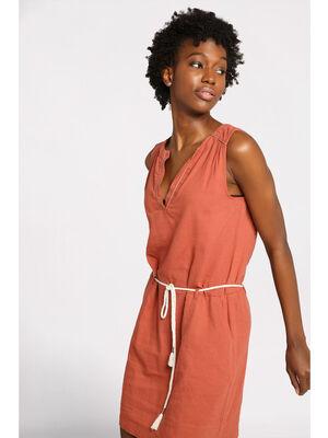Robe courte droite ceinture terracotta femme