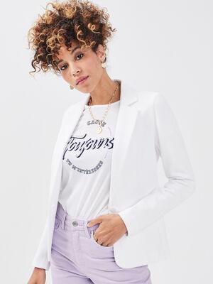 Veste blazer droite boutonne blanc femme