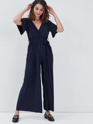 Combinaison pantalon plisse bleu marine femme