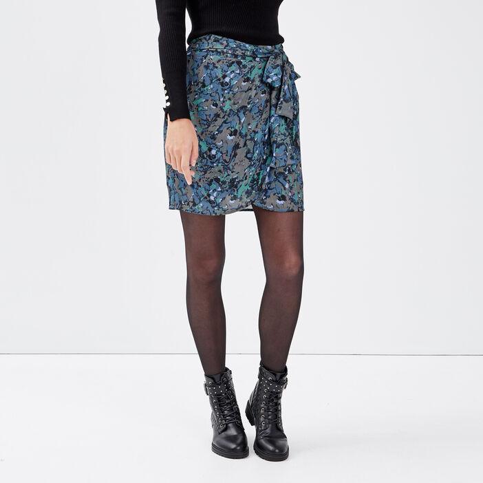 Jupe droite effet portefeuille bleu canard femme