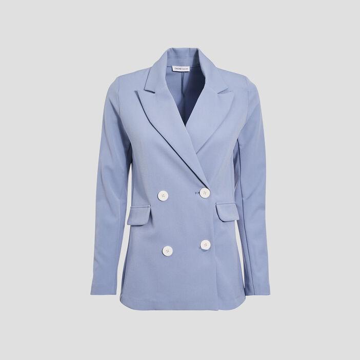 Veste droite double boutonnage bleu gris femme