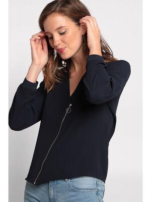 Chemise manches longues zippee bleu marine femme