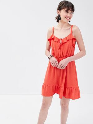 Robe droite avec volants orange femme