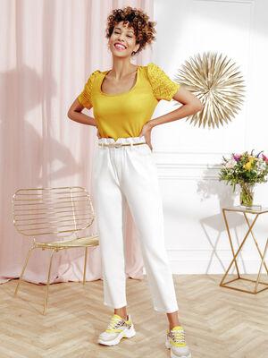 Pantalon slouchy elastique ecru femme
