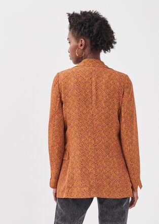 Veste blazer droite camel femme