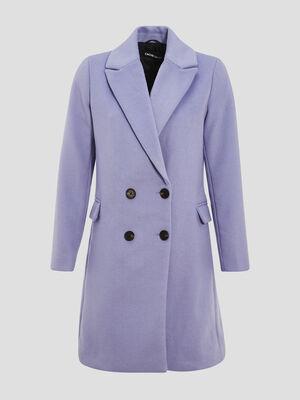 Manteau droit boutonne mauve femme