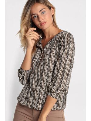 T shirt manches longues zippe noir femme