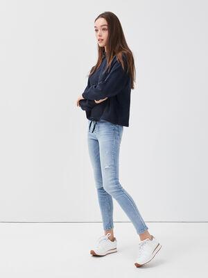 Jeans skinny 5 poches denim bleach femme
