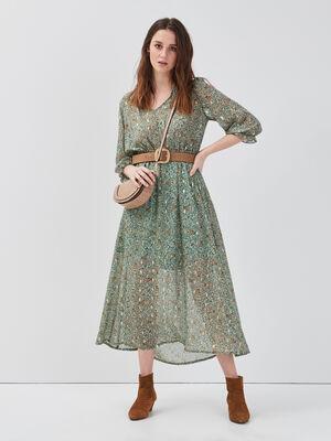 Robe longue evasee vert menthe femme