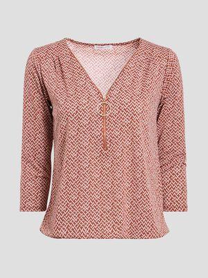 T shirt imprime manches 34 marron cognac femme
