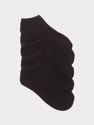 Lot de 5 paires chaussettes unies noir femme