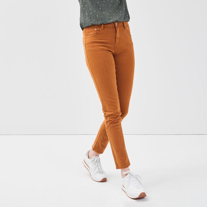 Jeans slim 5 poches camel femme