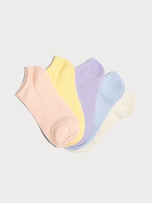 Lot de 5 paires chaussettes unies mauve femme