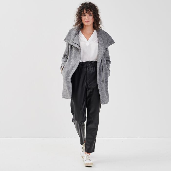 Manteau cintré asymétrique gris foncé femme