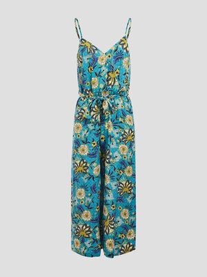 Combinaison pantalon ceinturee bleu turquoise femme