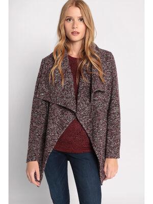 Manteau cintre ceinture violet fonce femme