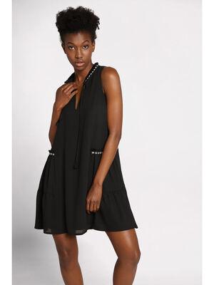 Robe courte fluide brodee noir femme