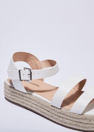 Sandales plateformes ecru femme