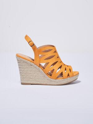 Sandales a talons compenses jaune moutarde femme