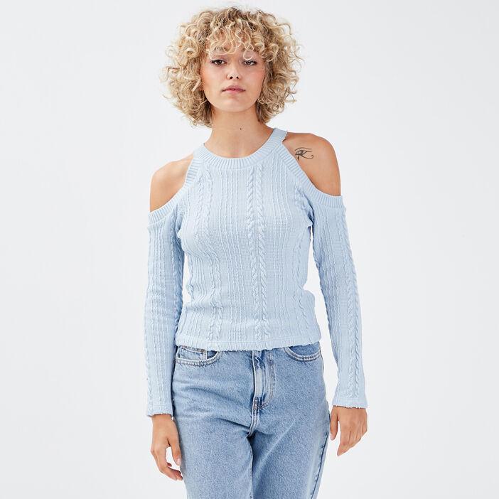 Sweat avec épaules dénudées bleu pastel femme