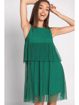 Robe evasee plissee vert emeraude femme