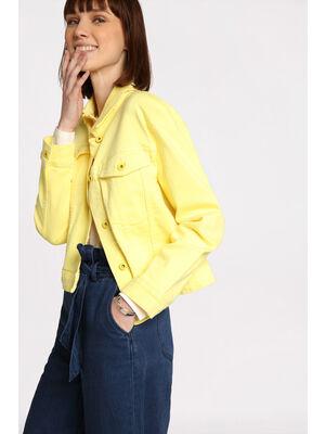 Veste courte boutonnee en jean jaune pastel femme