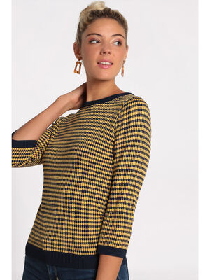 Pull manches 34 col rond jaune or femme