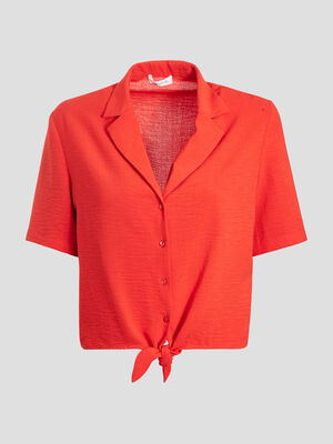 Chemise manches courtes rouge fluo femme