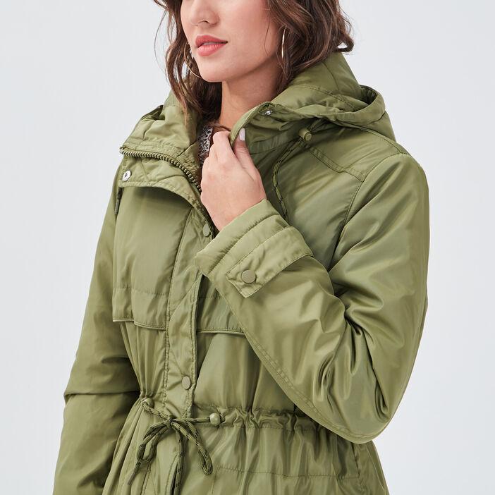 Parka évasée avec capuche vert olive femme
