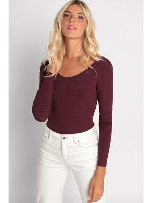 Body manches longues cotele violet fonce femme