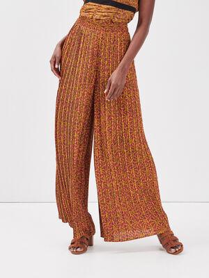 Pantalon ample plisse vert kaki femme