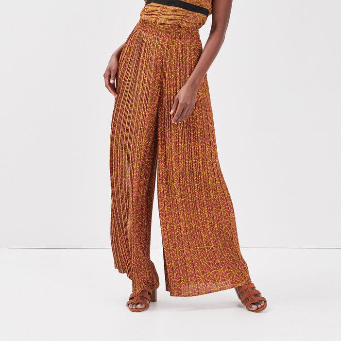 Pantalon ample plissé vert kaki femme