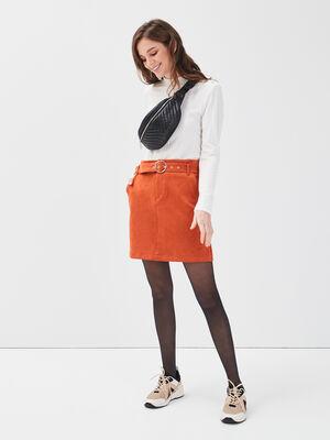 Jupe droite suedine a ceinture orange fonce femme