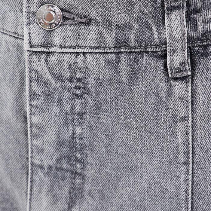 Jeans droit détails boucles denim gris femme