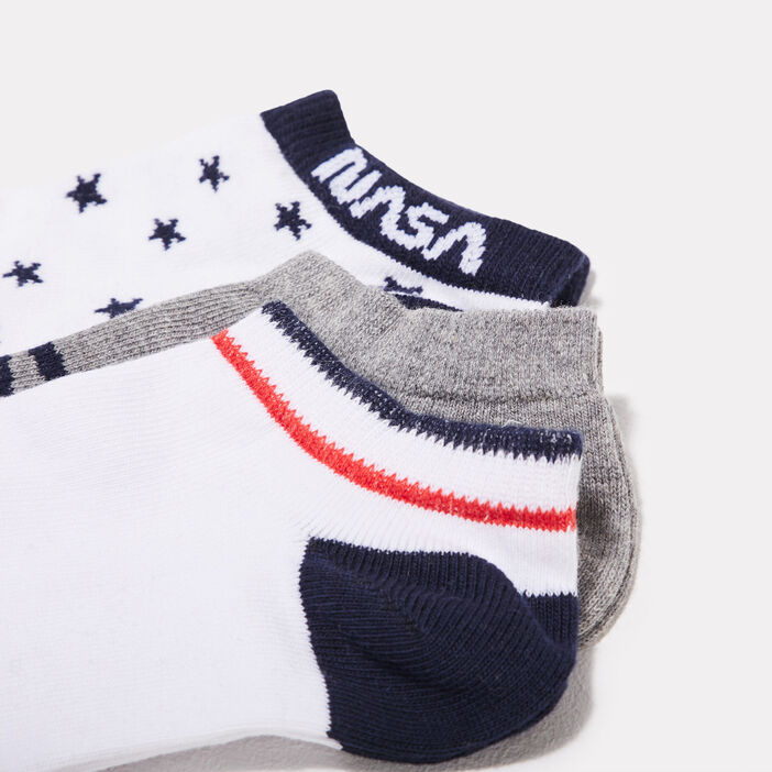 Lot 3 socquettes NASA gris clair femme