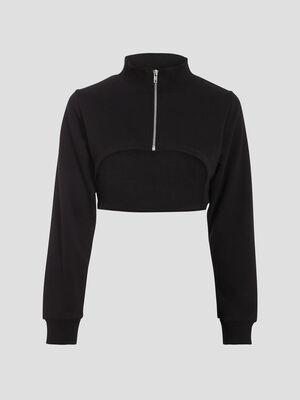 Sweat crop top zippe noir femme