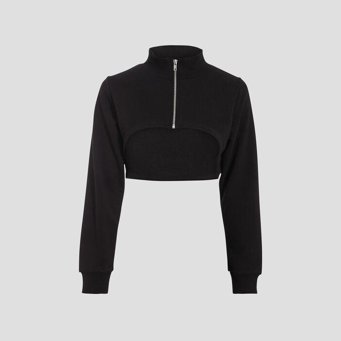 Sweat crop top zippé noir femme