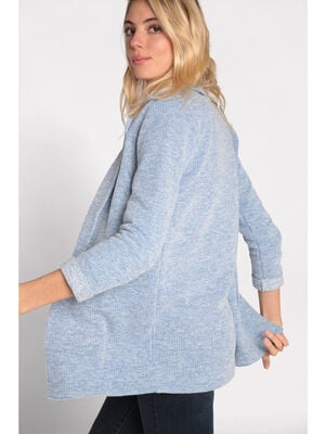 Manteau col crante maille chinee bleu ciel femme
