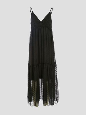 Robe longue evasee plumetis noir femme