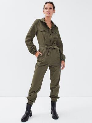 Combinaison pantalon ceinturee vert kaki femme